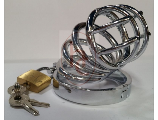 Prison Lock Chastity Cage 4 Rings
