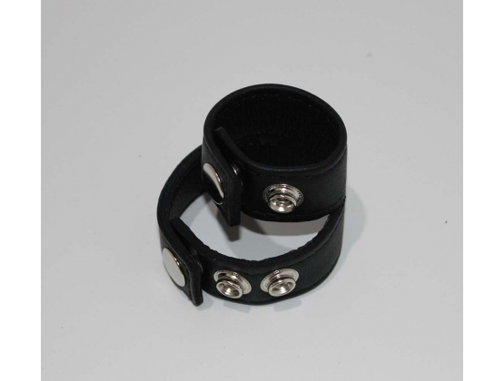 Double Strap Leather Cock Ring with Studs