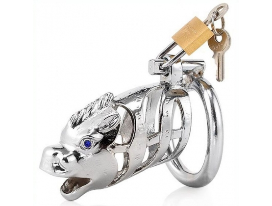 Chinese Zodiac Cock Cage - Horse - SILVER