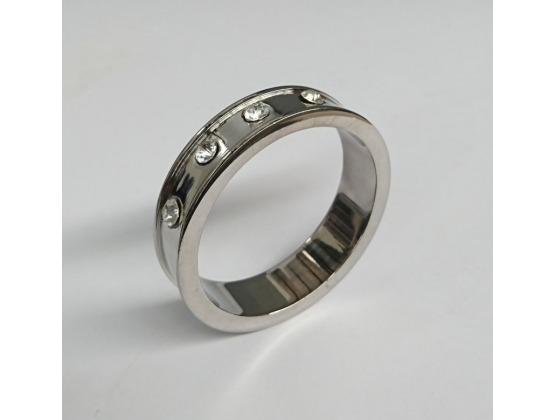 Deep Shallow Steel Cock Ring with Diamond Gem