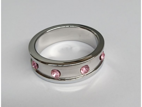 Deep Shallow Steel Cock Ring 45mm with Rose Quartz Gem