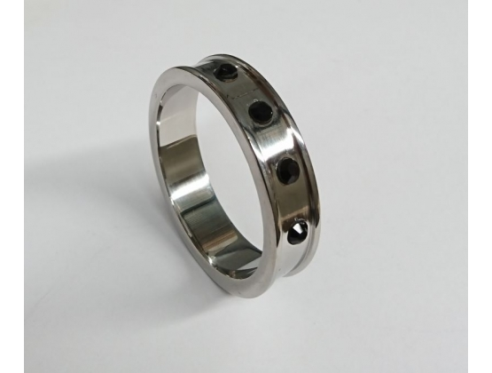 Deep Shallow Steel Cock Ring with Onyx Gem