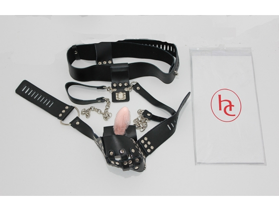 Dungeon Ware Leather Chastity Harness With Anal Plug