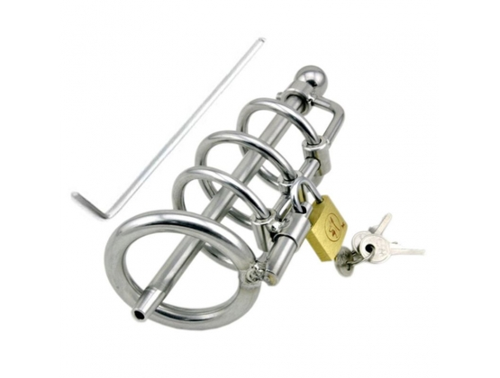 Locking Steel Chastity Device with Penis Plug