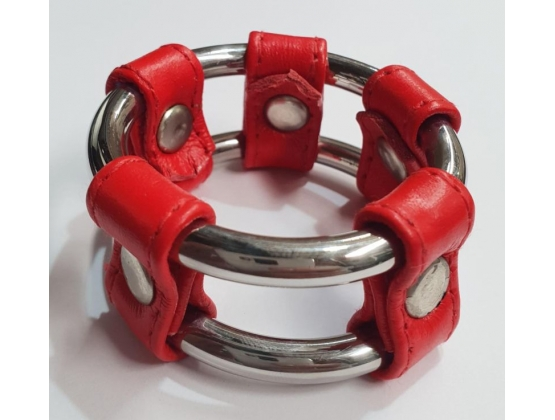 Plain Tube Steel Double Cock Ring Red 55mm