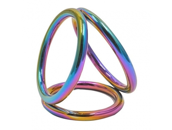 Rainbow Triple Cock and Ball Ring