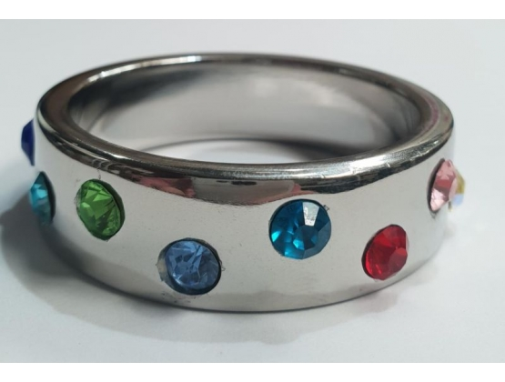 Wide Band Jewel Encrusted Steel Cock Ring