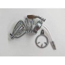 Chastity Device with Cock Ring and Catheter Tube