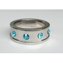 Deep Shallow Steel Cock Ring 40mm with Aquamarine Gem