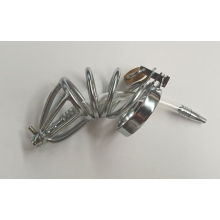 Hoop Male Chastity Cage with Urethral Tube